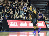 Guard Tre Harris of the Kansas State Wildcats reacts after hitting a threepoint shot against the Texas Longhorns during the first half on February 7...