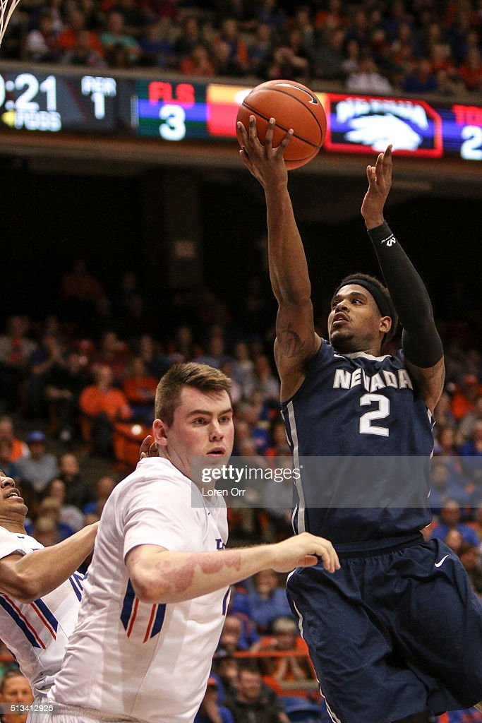 Guard Tyron Criswell of the Nevada Wolf Pack shoots during first half action against the Boise State Broncos on March 2 2016 at Taco Bell Arena in...
