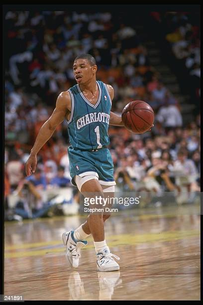 Guard Tyrone Bogues of the Charlotte Hornets in action with the ball Mandatory Credit Stephen Dunn /Allsport