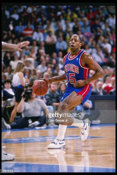 Guard Vinnie Johnson of the Detroit Pistons relaxes during a game against the Golden State Warriors at the Oakland Coliseum Arena in Oakland...
