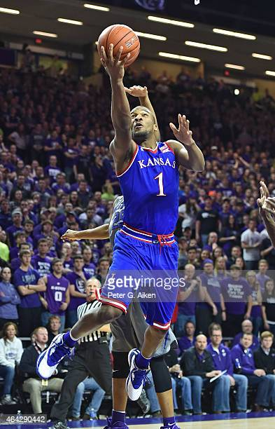 Guard Wayne Selden Jr of the Kansas Jayhawks drives to the basket against the Kansas State Wildcats during the first half on February 23 2015 at...