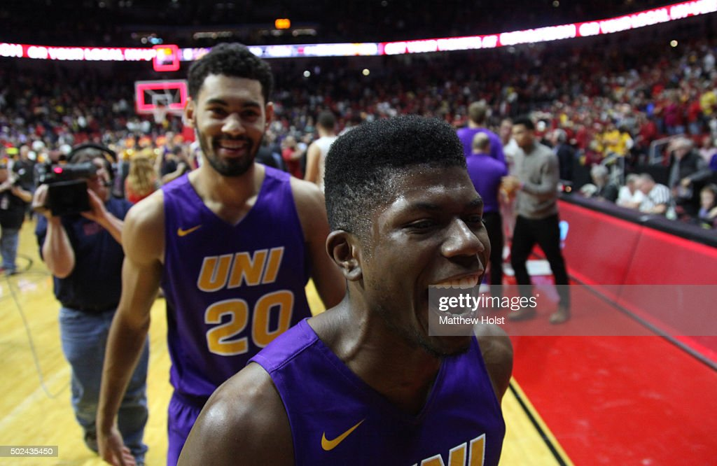 Guard Wes Washpun of the Northern Iowa Panthers celebrates after defeating the Iowa State Cyclones on December 19 2015 during the HyVee Big Four...
