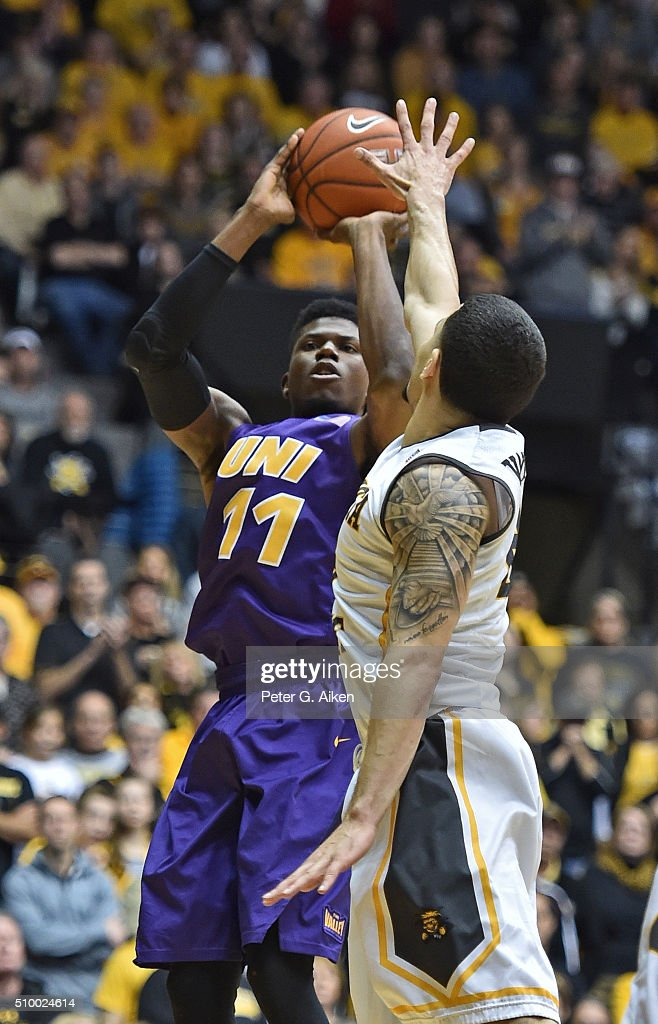 Guard Wes Washpun #11 of the Northern Iowa Panthers shoots the ball against guard <a gi-track='captionPersonalityLinkClicked' href=/galleries/search?phrase=Fred+VanVleet&family=editorial&specificpeople=10612238 ng-click='$event.stopPropagation()'>Fred VanVleet</a> #23 of the Wichita State Shockers during the second half on February 13, 2016 at Charles Koch Arena in Wichita, Kansas. Northern Iowa defeated Wichita State 53-50.