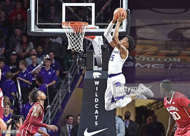 Guard Wesley Iwundu of the Kansas State Wildcats drives in for a dunk against the Oklahoma Sooners during the first half on February 6 2016 at...