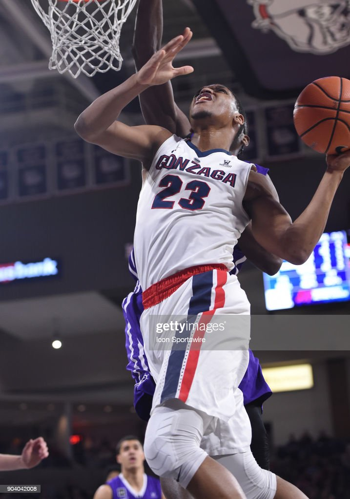 GU guard Zach Norvell Jr. (23) goes up to try to score but misses during the game between the Portland Pilots and the Gonzaga Bulldogs played on January 11, 2018, at McCarthey Athletic Center in Spokane, WA.
