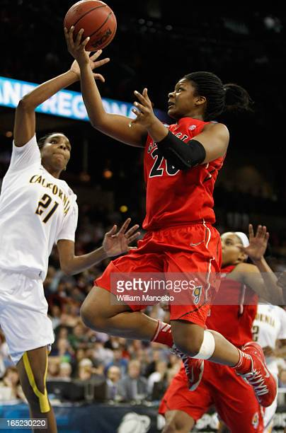 Guard/forward Shacobia Barbee of the Georgia Lady Bulldogs goes to the basket against the California Golden Bears during the NCAA Division I Women's...