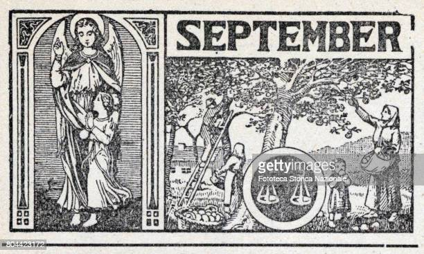 Guardian Angel apple picking early autumn zodiac sign of the libra Header sheet for the month September in a German almanac woodcut Germany 1919