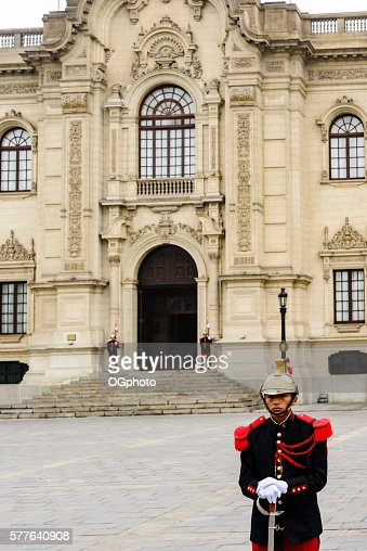 Guards at the Government Palace of  Peru in Lima. : Stock Photo