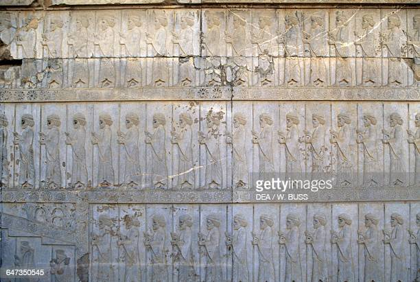 Guards relief east staircase of the Apadana palace in Persepolis Iran Achaemenid civilisation 6th5th century BC