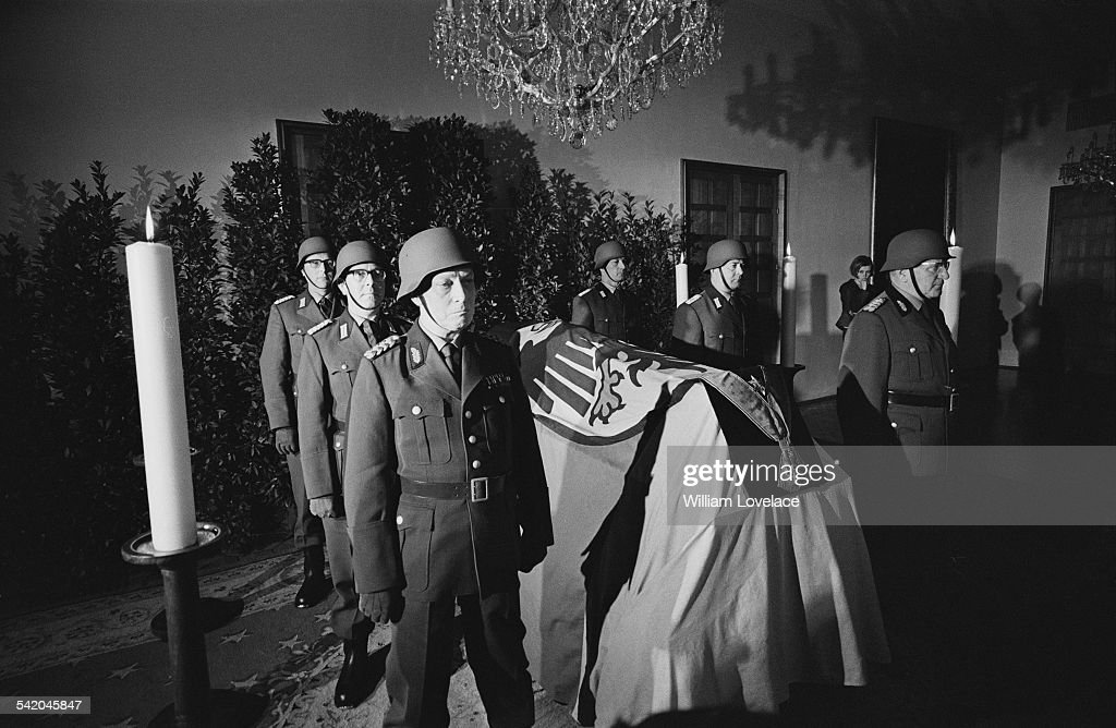 Guards surround the coffin of Konrad Adenauer lying in state at Federal Office Germany 23rd April 1967