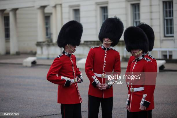Guardsmen are pictured ahead of a photo call for the launch of the Veterans Black Cab ride at Wellington Barracks on February 12 2017 in London...