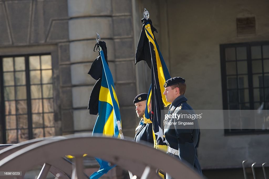 . Guardsmen form a guard of honour during the funeral of Princess Lilian Of Sweden on March 16, 2013 in Stockholm, Sweden.