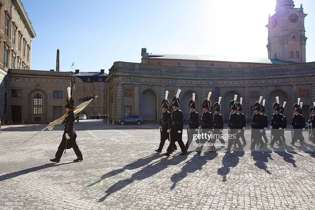 . Guardsmen march outside the Royal Palace during the funeral of Princess Lilian Of Sweden on March 16, 2013 in Stockholm, Sweden.