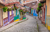Guatape, Colombia. Typically colourful buildings in Guatape Colombia