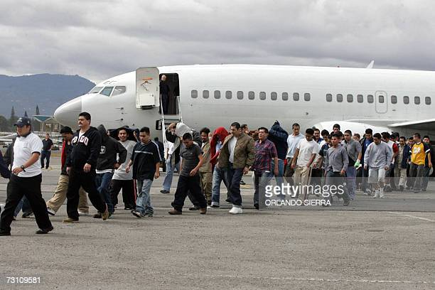 A group of Guatemalans deported from the United States arrive at an Air Force Base in the outskirts of Guatemala City on January 25th 2007 Some 210...