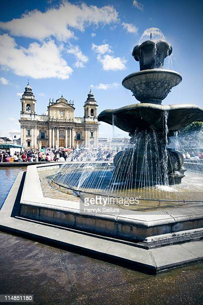 Guatemala, Guatemala City, fountain on main square