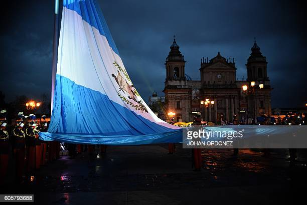 Guatemalan Army cadets take part in the celebrations for the 195th anniversary of Guatemala's independence day in Guatemala City on September 14 2016...