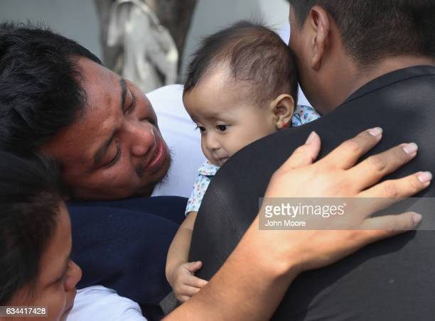 Guatemalan deportee Eric Perez greets his daughter Kimberly 18 months after he arrived on an ICE deportation flight on February 9 2017 to Guatemala...