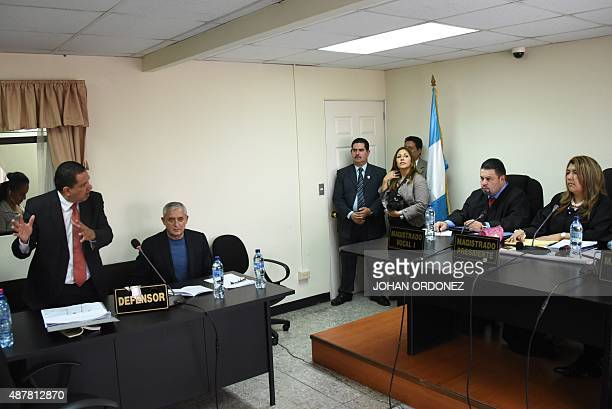 Guatemalan expresident Otto Perez arrested on corruption charges is seen at a hearing in a court in Guatemala City on September 11 2015 Perez...