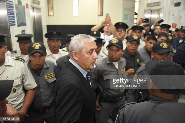 Guatemalan expresident Otto Perez leaves after a court hearing in Guatemala City on September 8 2015 A Guatemalan court indicted former president...