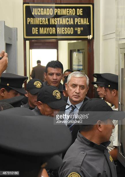 Guatemalan expresident Otto Perez leaves under custody after a court hearing in Guatemala City on September 8 2015 A Guatemalan court indicted former...