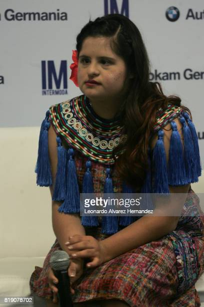 Guatemalan fashion designer Isabella Springmühl speaks to the media during a conference as part of IM Intermoda 2017 at Expo Guadalajara on July 19...
