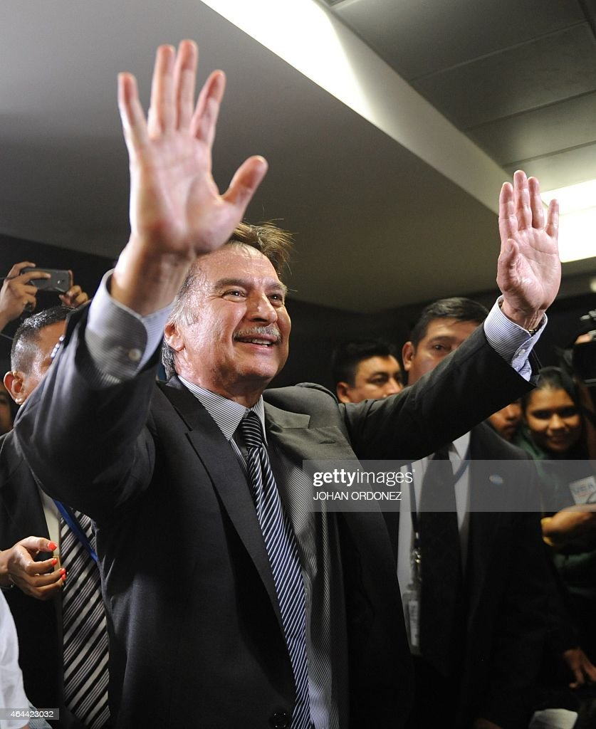 Guatemalan former President <a gi-track='captionPersonalityLinkClicked' href=/galleries/search?phrase=Alfonso+Portillo&family=editorial&specificpeople=235376 ng-click='$event.stopPropagation()'>Alfonso Portillo</a> (R) gestures after a press conference at La Aurora international airport in Guatemala City on February 25, 2015. Portillo, was released from prison in the United States and returned to Guatemala, after he served a sentence for taking over USD 2.5 million in bribes from Taiwan.