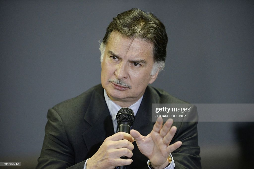 Guatemalan former President <a gi-track='captionPersonalityLinkClicked' href=/galleries/search?phrase=Alfonso+Portillo&family=editorial&specificpeople=235376 ng-click='$event.stopPropagation()'>Alfonso Portillo</a> gestures during a press conference at La Aurora international airport in Guatemala City on February 25, 2015. Portillo, was released from prison in the United States and returned to Guatemala, after he served a sentence for taking over USD 2.5 million in bribes from Taiwan.