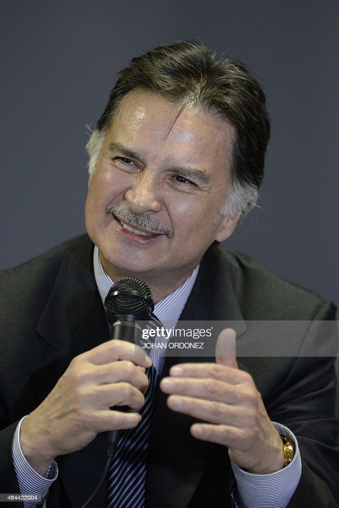 Guatemalan former President <a gi-track='captionPersonalityLinkClicked' href=/galleries/search?phrase=Alfonso+Portillo&family=editorial&specificpeople=235376 ng-click='$event.stopPropagation()'>Alfonso Portillo</a> speaks during a press conference at La Aurora international airport in Guatemala City on February 25, 2015. Portillo, was released from prison in the United States and returned to Guatemala, after he served a sentence for taking over USD 2.5 million in bribes from Taiwan.