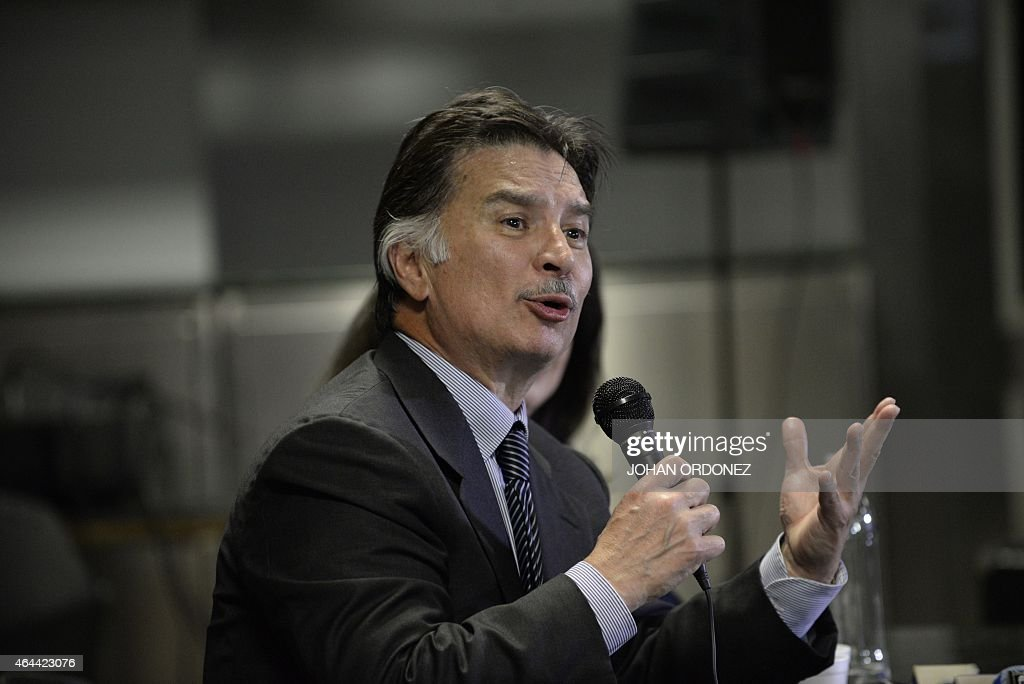 Guatemalan former President <a gi-track='captionPersonalityLinkClicked' href=/galleries/search?phrase=Alfonso+Portillo&family=editorial&specificpeople=235376 ng-click='$event.stopPropagation()'>Alfonso Portillo</a> (R) speaks during press conference at La Aurora international airport in Guatemala City on February 25, 2015. Portillo, was released from prison in the United States and returned to Guatemala, after he served a sentence for taking over USD 2.5 million in bribes from Taiwan.