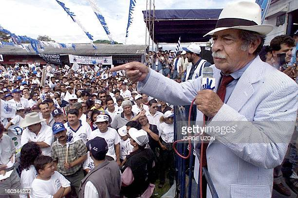 Guatemalan fundamentalist Christian Gen Efrain Rios Montt who was de facto ruler of Guatemala from 198283 addresses a campaignclosing rally of the...