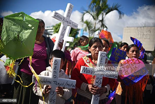 Guatemalan indigenous women take part in a demonstration during commemorations of the International Day for the Elimination of Violence Against Women...