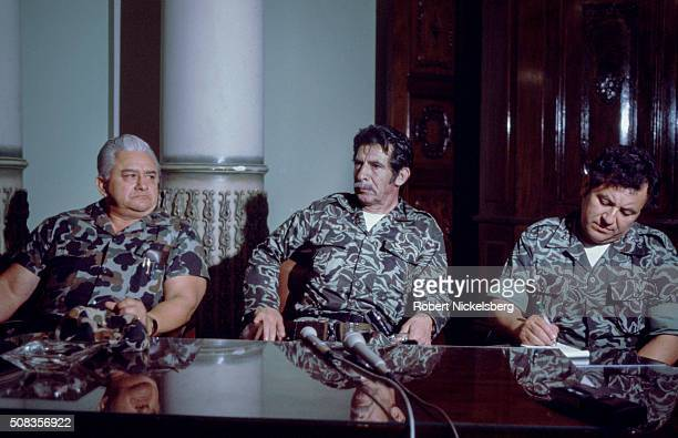 Guatemalan President and Army General Efraim Rios Montt sits during a press conference at the Presidential Palace to announce his successful military...
