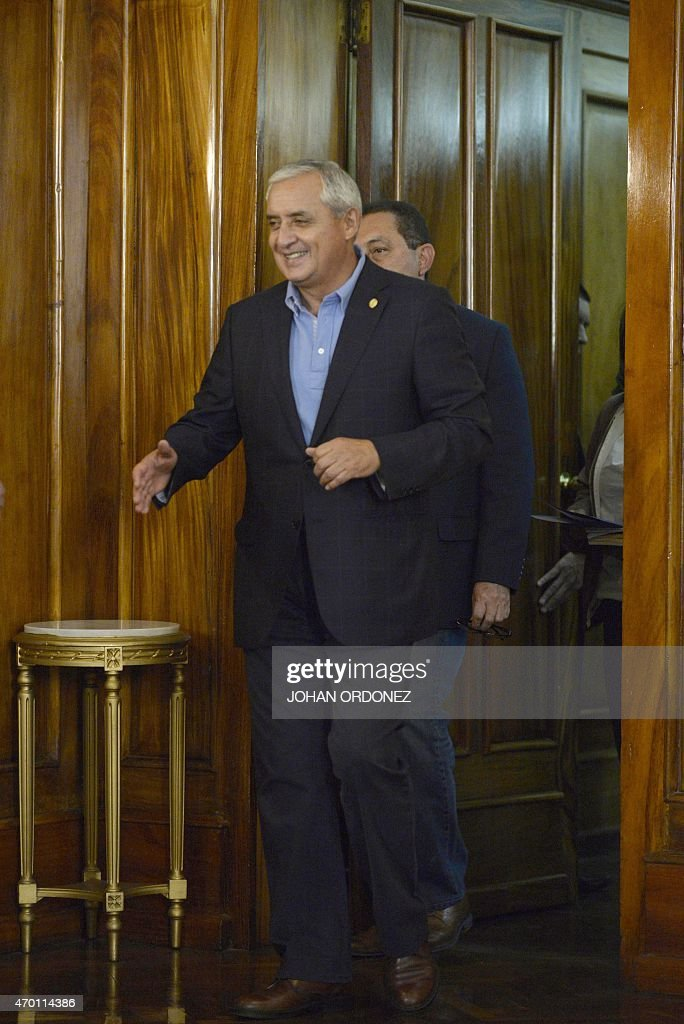 Guatemalan President Otto Perez Molina arrives to a press conference at the presidential residence in Guatemala City on April 17 2015 Perez Moline...