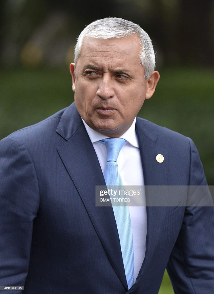 Guatemalan President Otto Perez Molina during a ceremony held at the Altar de la Patria monument in Mexico City on March 13, 2015, upon his arrival in Mexico for a one-day visit. AFP PHOTO/OMAR TORRES
