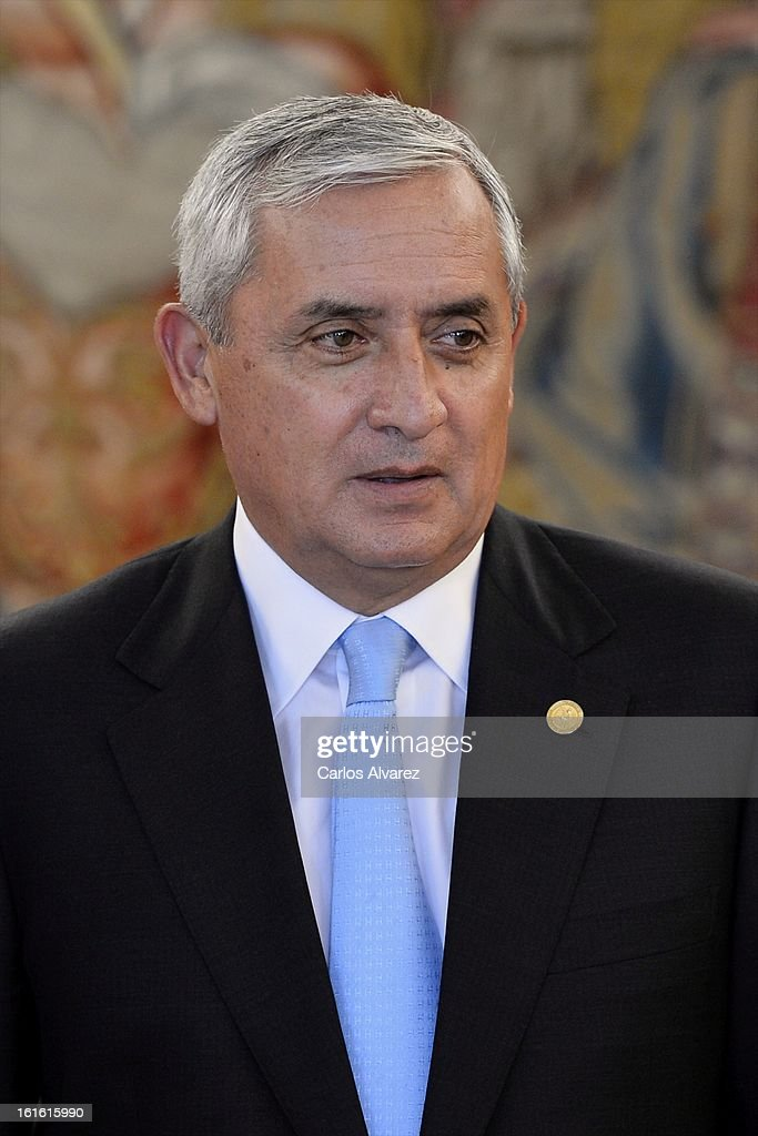Guatemalan President Otto Perez Molina looks on during his meeting with King Juan Carlos of Spain at the Zarzuela Palace on February 13 2013 in...