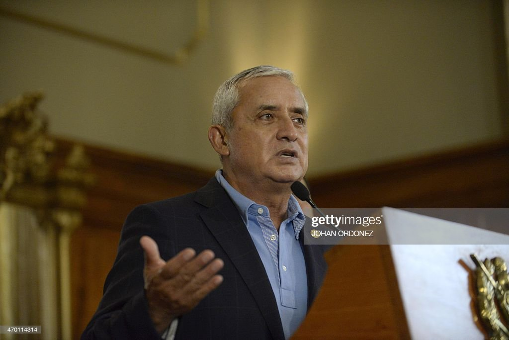 Guatemalan President Otto Perez Molina speaks during a press conference at the presidential residence in Guatemala City on April 17 2015 Perez Moline...