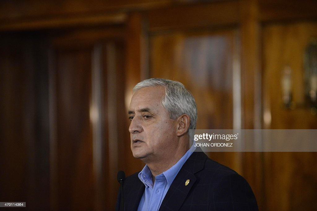 Guatemalan President Otto Perez Molina speaks during a press conference at the presidential residence in Guatemala City on April 17, 2015. Perez Moline informed about the operation carried out by security authorities and members of the International Commission against Impunity in Guatemala (CICIG), that eventually led to the arrest of about 20 people on charges of operating a network of smuggling and tax fraud. AFP PHOTO Johan ORDONEZ