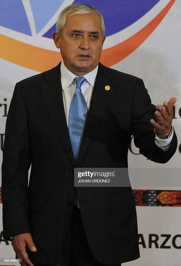 Guatemalan President Otto Perez Molina speaks during a working meeting in Guatemala City on March 3 2015 Leaders from Guatemala El Salvador and...