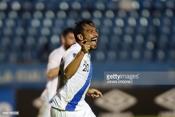 Guatemala's Carlos Ruiz celebrates a goal during their Russia 2018 FIFA World Cup qualifers football match against Saint Vincent and the Grenadines...