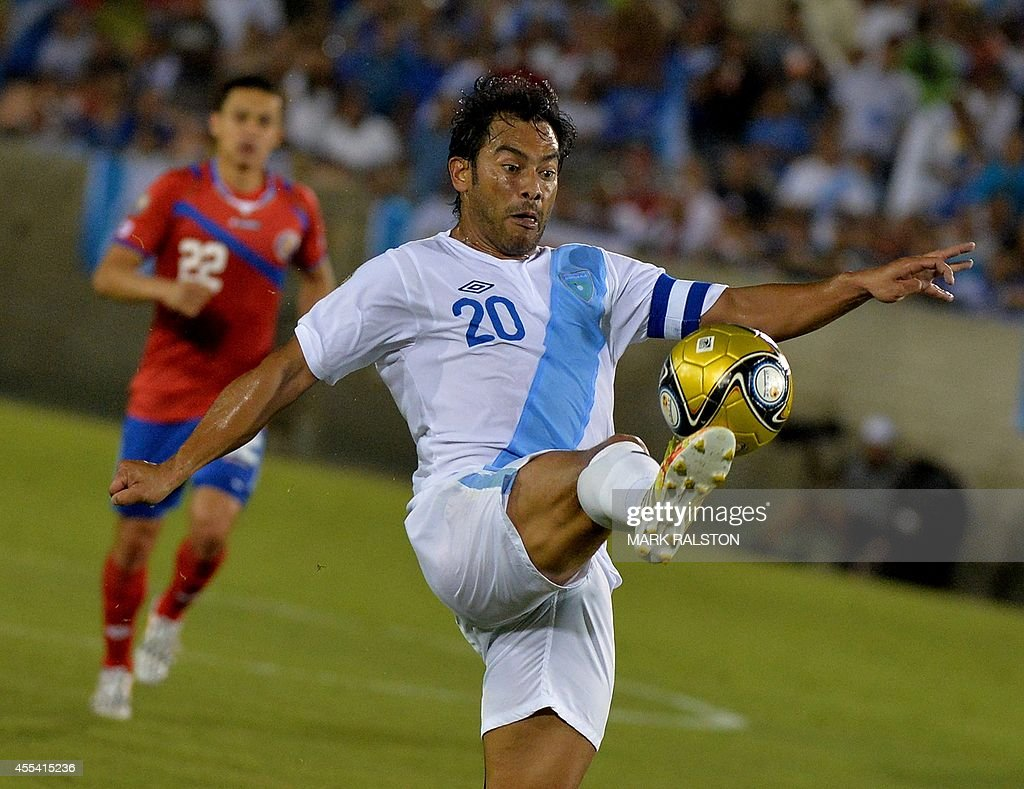 Guatemala's Carlos Ruiz controls the ball against Costa Rica during their Central American Cup Tigo 2014 USA football finals match at the LA Memorial...