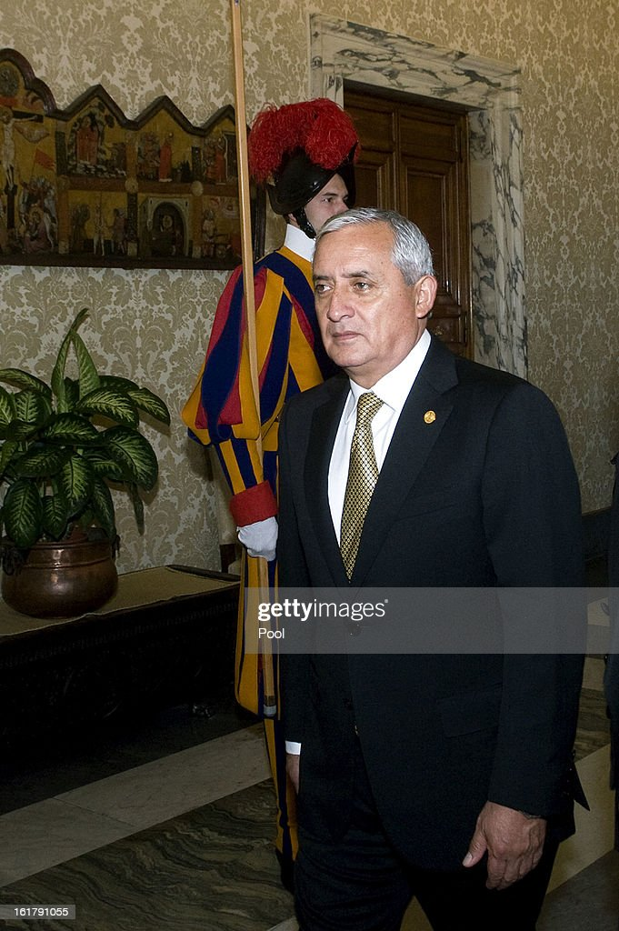 Guatemala's President Otto Perez Molina arrives at Vatican for a private audience with Pope Benedict XVI on February 16 2013 in Vatican City Vatican
