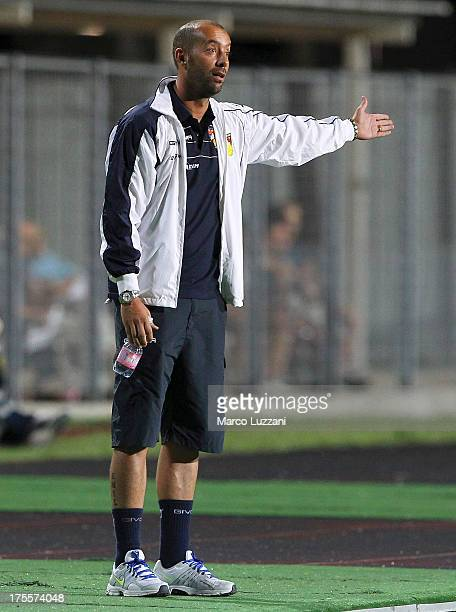 Gubbio manager Cristian Bucchi issues instructions to his players during the preseason friendly match between Parma FC and Gubbio at Stadio Barbetti...