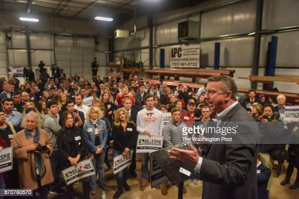 GOP gubernatorial candidate Ed Gillespie stumps at the Inspiration Plumbing Company on Monday October 30 in Sterling VA