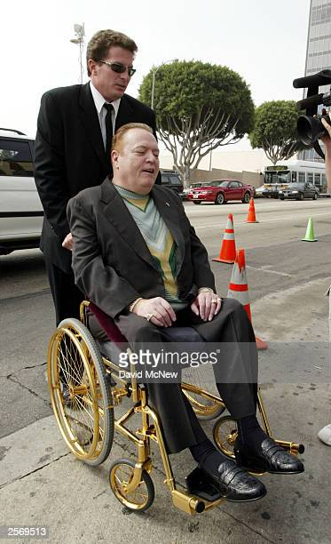 Gubernatorial candidate Larry Flynt publisher of Hustler magazine arrives in a gold wheelchair to vote in the recall election of Gov Gray Davis...