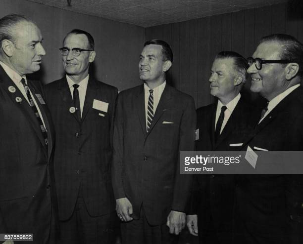 Gubernatorial Candidates From Five Western States Hold Huddle From Left Winthrop Rockefeller Donald Halerow Mitchell Melich Jack Crichton Merle H...