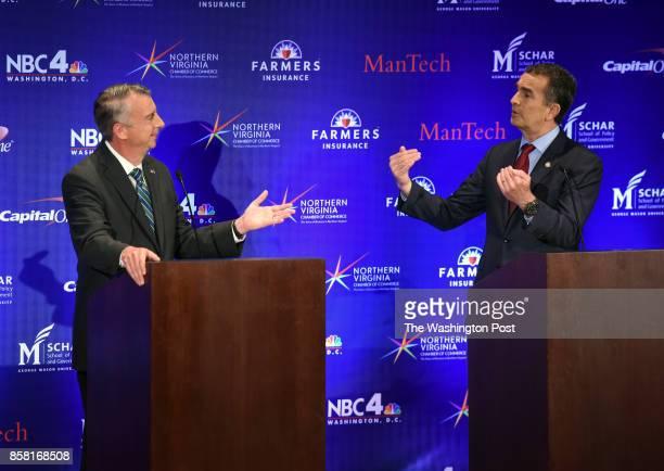 Gubernatorial debate between Republican candidate Ed Gillespie left and Lt Gov Ralph Northam Democrat on September 2017 in McLean VA