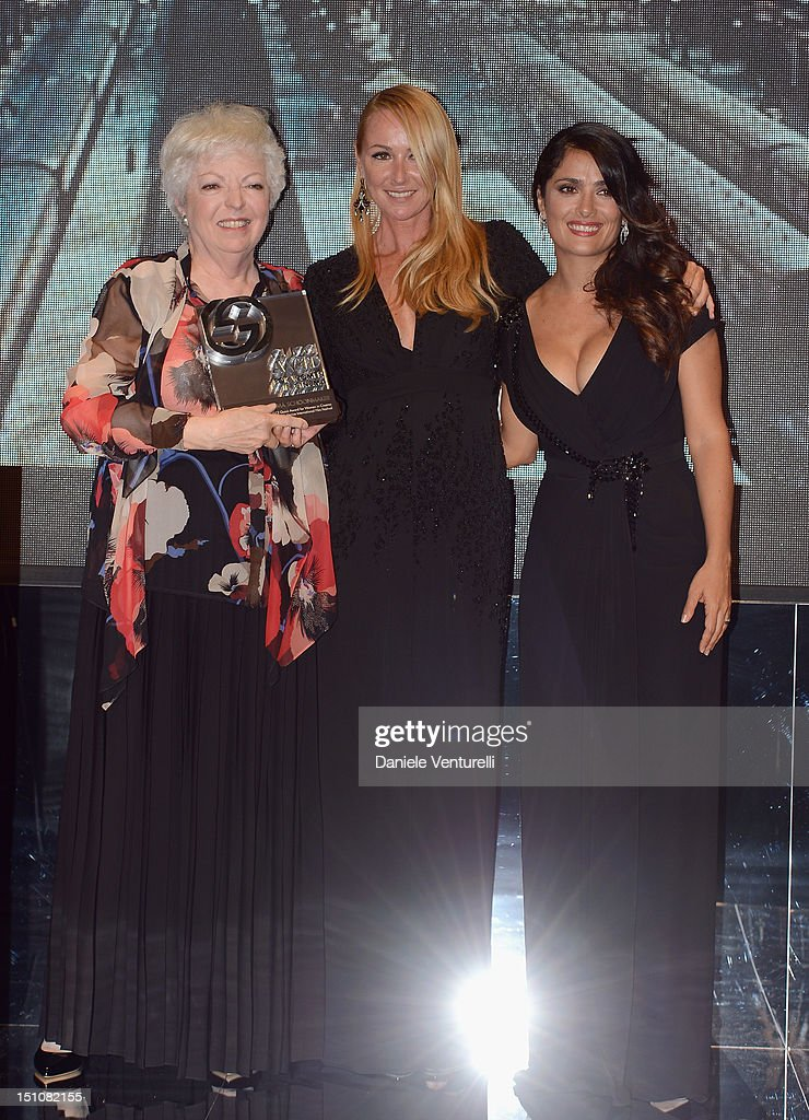 Gucci Award for Women in Cinema recipient <a gi-track='captionPersonalityLinkClicked' href=/galleries/search?phrase=Thelma+Schoonmaker&family=editorial&specificpeople=235985 ng-click='$event.stopPropagation()'>Thelma Schoonmaker</a>, Creative Director of Gucci <a gi-track='captionPersonalityLinkClicked' href=/galleries/search?phrase=Frida+Giannini&family=editorial&specificpeople=559380 ng-click='$event.stopPropagation()'>Frida Giannini</a> and actress <a gi-track='captionPersonalityLinkClicked' href=/galleries/search?phrase=Salma+Hayek&family=editorial&specificpeople=201844 ng-click='$event.stopPropagation()'>Salma Hayek</a> attend the Gucci Award for Women in Cinema at The 69th Venice International Film Festival at Hotel Cipriani on August 31, 2012 in Venice, Italy.
