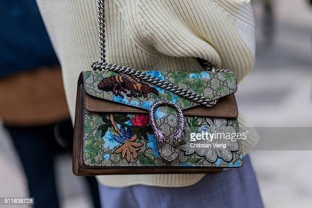Gucci bag seen outside Mulberry during London Fashion Week Autumn/Winter 2016/17 on February 21 2016 in London England