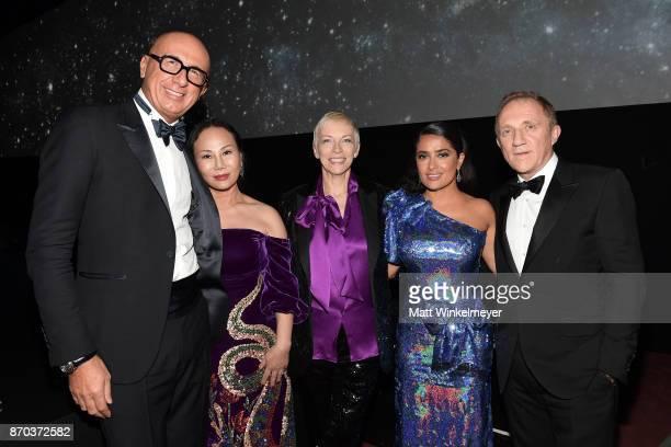 Gucci CEO Marco Bizzarri Art Film Gala CoChair Eva Chow wearing Gucci musician Annie Lennox wearing Gucci actor Salma Hayek wearing Gucci and...